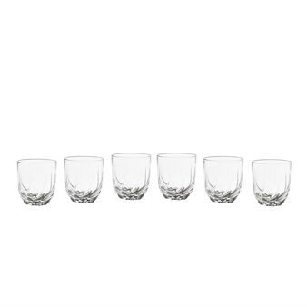 Set of 6 glass tumblers with wavy bottom