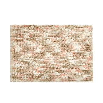 Shaggy cotton bath mat with mélange effect