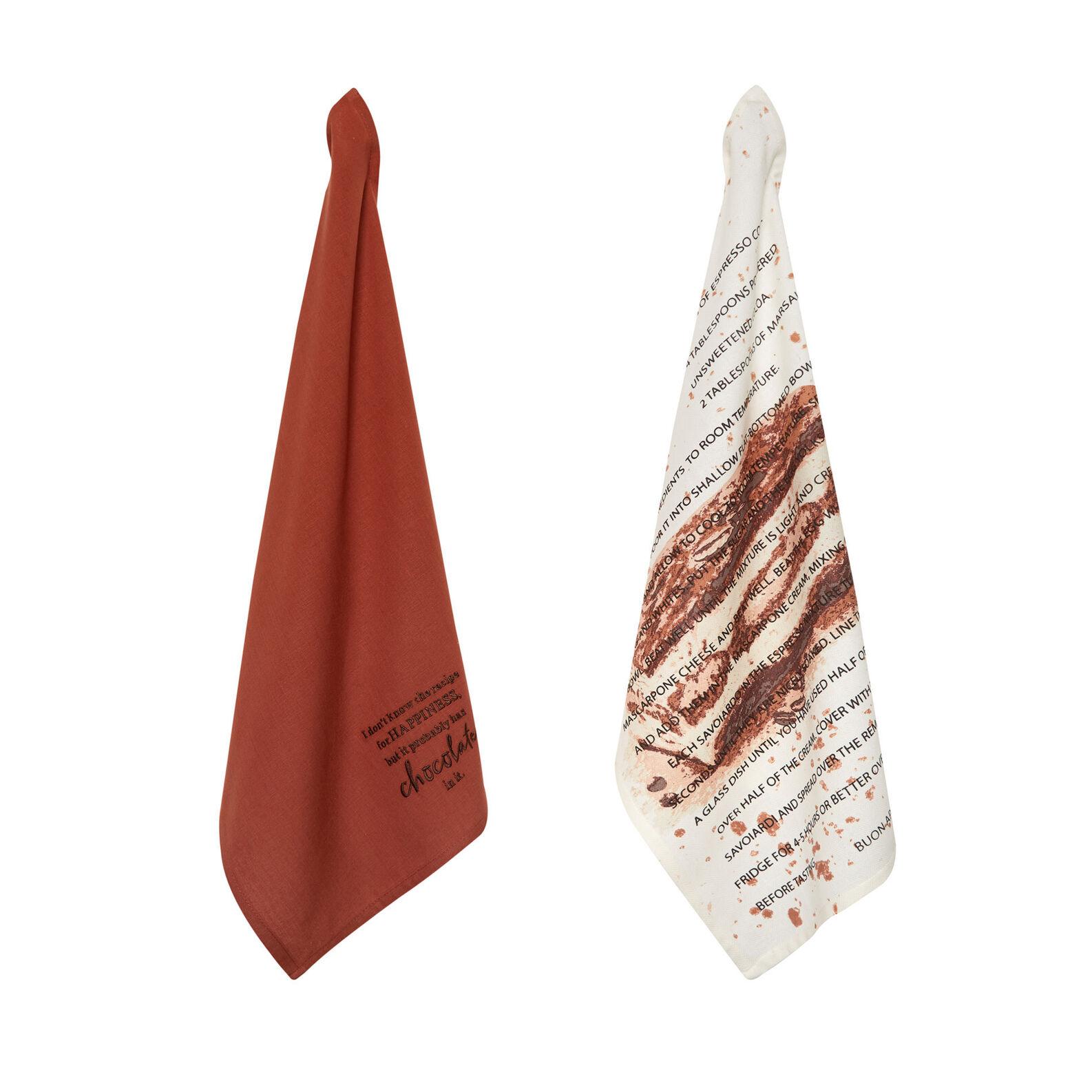 Set of 2 tea towels in 100% cotton with tiramisu print