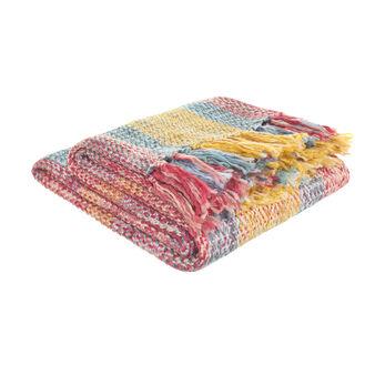 Multicoloured tartan acrylic throw