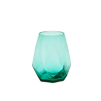 Diamond-cut glass tumbler