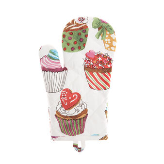 Cotton twill oven mitt with cupcakes print by Sandra Jacobs design