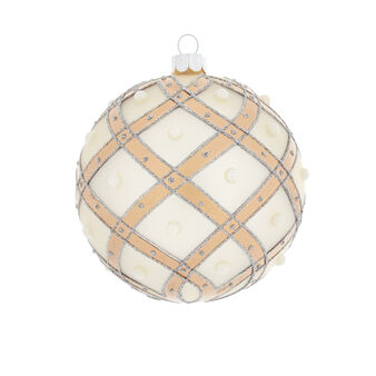 Hand-decorated bauble with beads D8cm