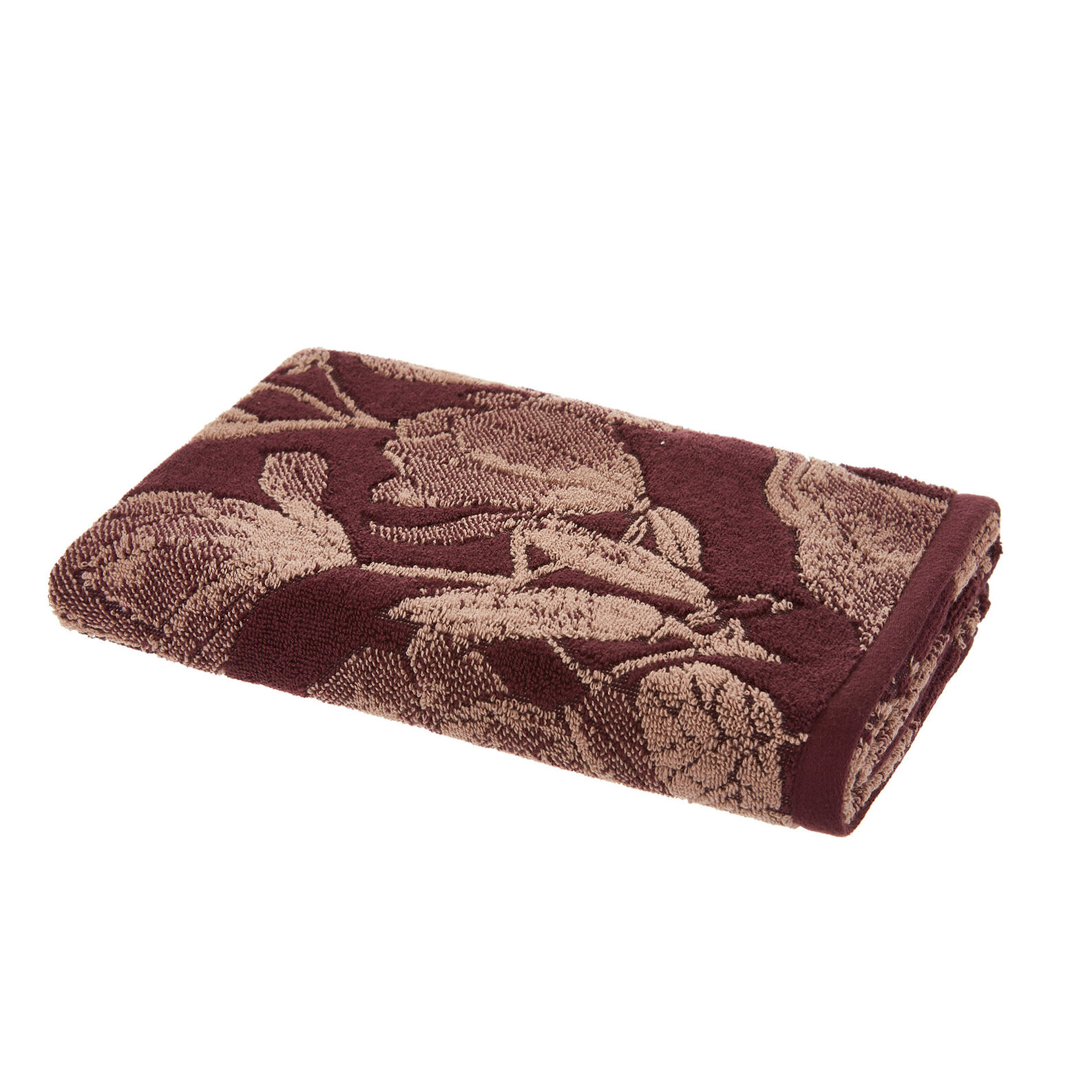 Cotton terry towel with magnolia design