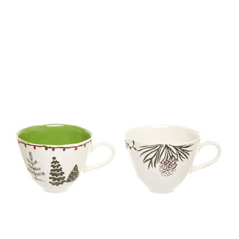 Stoneware breakfast cup with Christmas motif