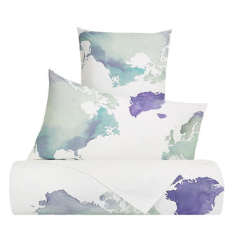 Duvet cover set in cotton percale with world pattern