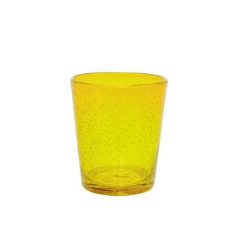 Bubble-effect coloured glass tumbler