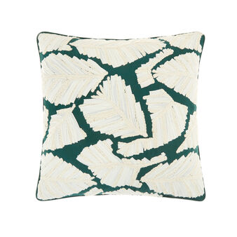 Cushion with leaves embroidery 45x45cm