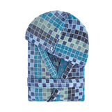 Cotton velour bathrobe with mosaic pattern