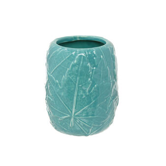 Ceramic toothbrush holder with raised leaf decoration