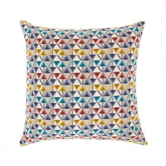 Cushion with jacquard triangle design