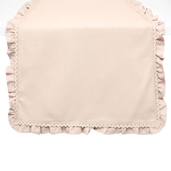 100% cotton table runner with frill