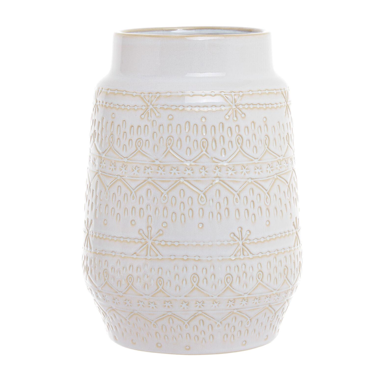 Ceramic vase with raised decorations