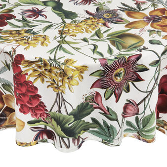 Round cotton twill tablecloth with floral print