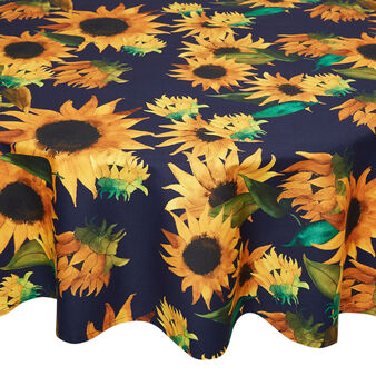 Round water-repellent cotton twill tablecloth with sunflowers print