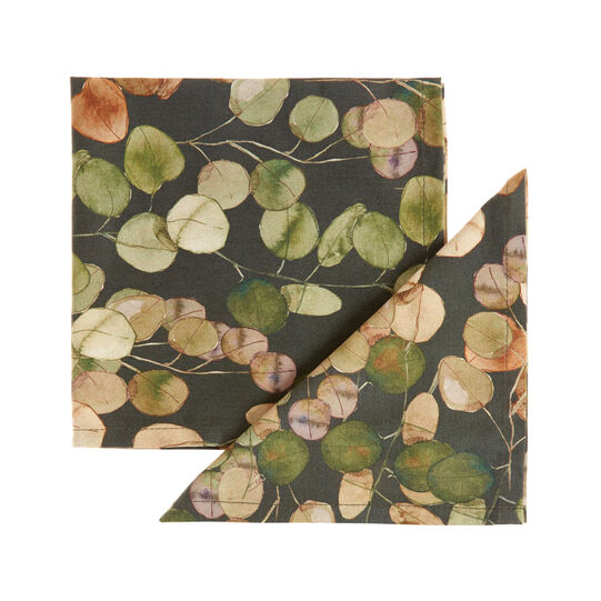 2-pack napkins in 100% twill cotton with leaf print