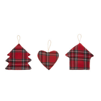 3-pack decorations in cotton twill with tartan motif