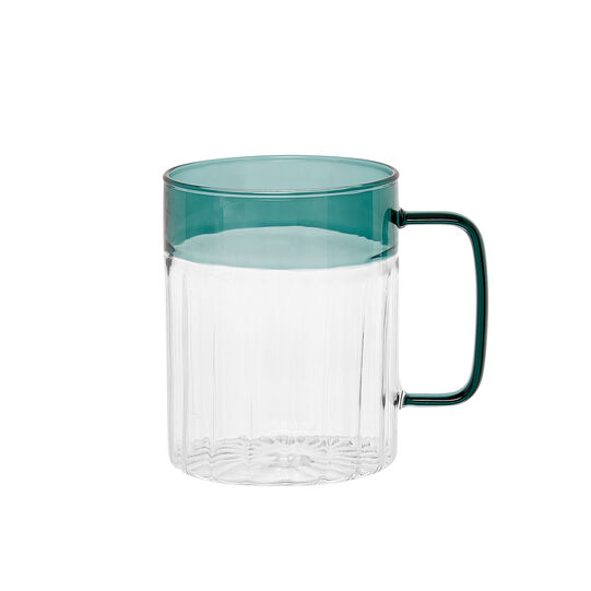 Borosilicate glass mug with coloured handle