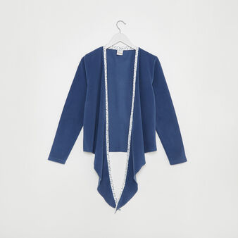 Solid colour fleece cardigan