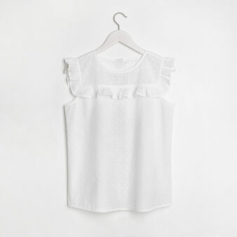 Lightweight polka dot embroidery cotton top