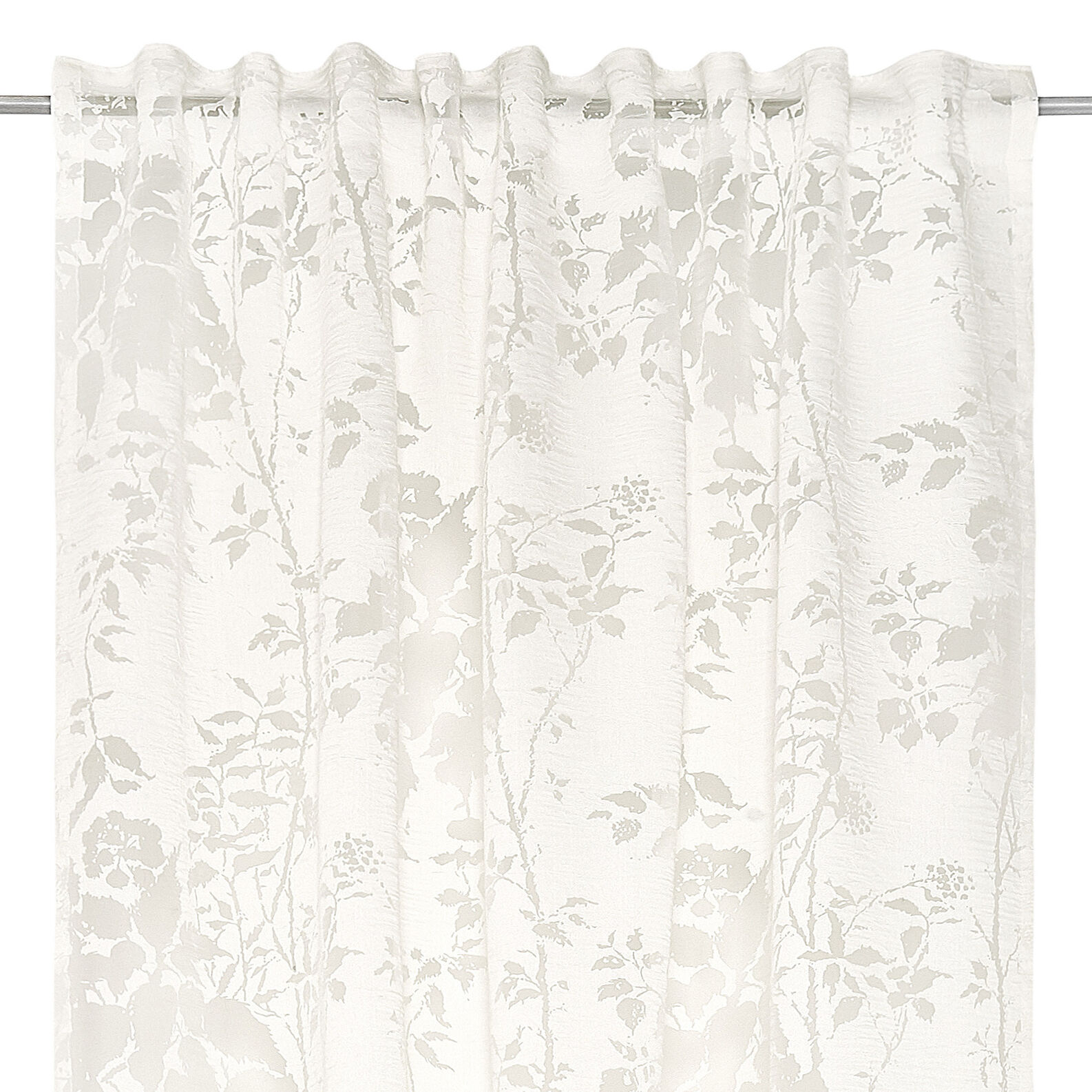 Viscose blend devorè curtain with concealed loops