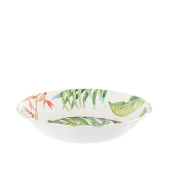 Melamine salad bowl with tropical leaves