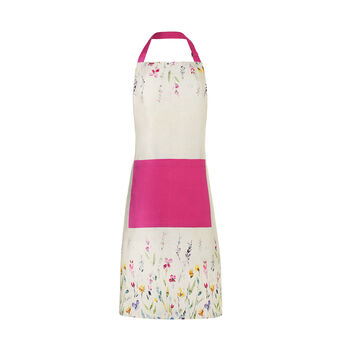 Watercolour flowers bib apron in 100% cotton