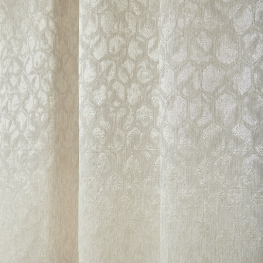 Linen blend curtain with honeycomb pattern