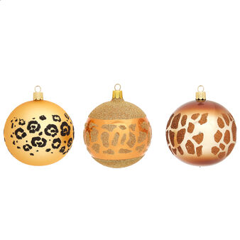 Glass animal print bauble hand-blown by European artisans
