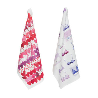 Set of 2 tea towels in pure cotton with Sandra Jacobs print