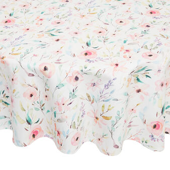 Round cotton twill tablecloth with roses print