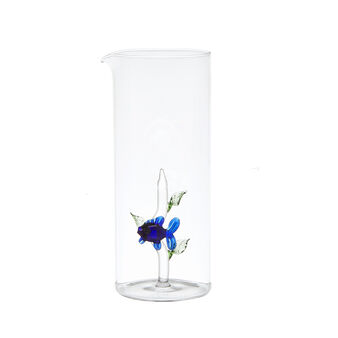 Glass carafe with small fish
