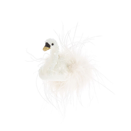 Swan decoration with feathers