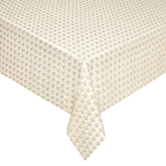 Tablecloth with openwork flowers and lurex