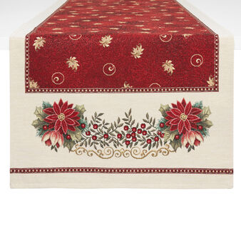 Gobelin fabric table runner with Christmas motif