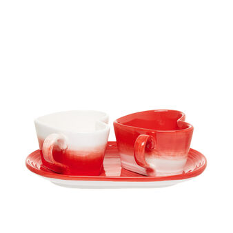 Set of 2 ceramic heart coffee cups