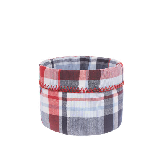 Yarn-dyed basket in 100% cotton with check motif