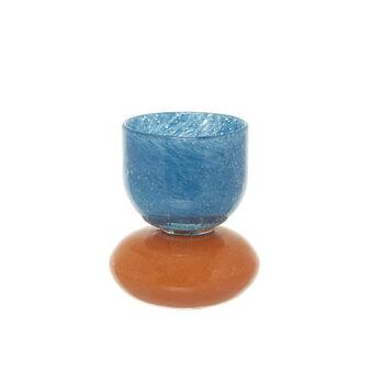 Portacandele vetro colorato in pasta bicolor