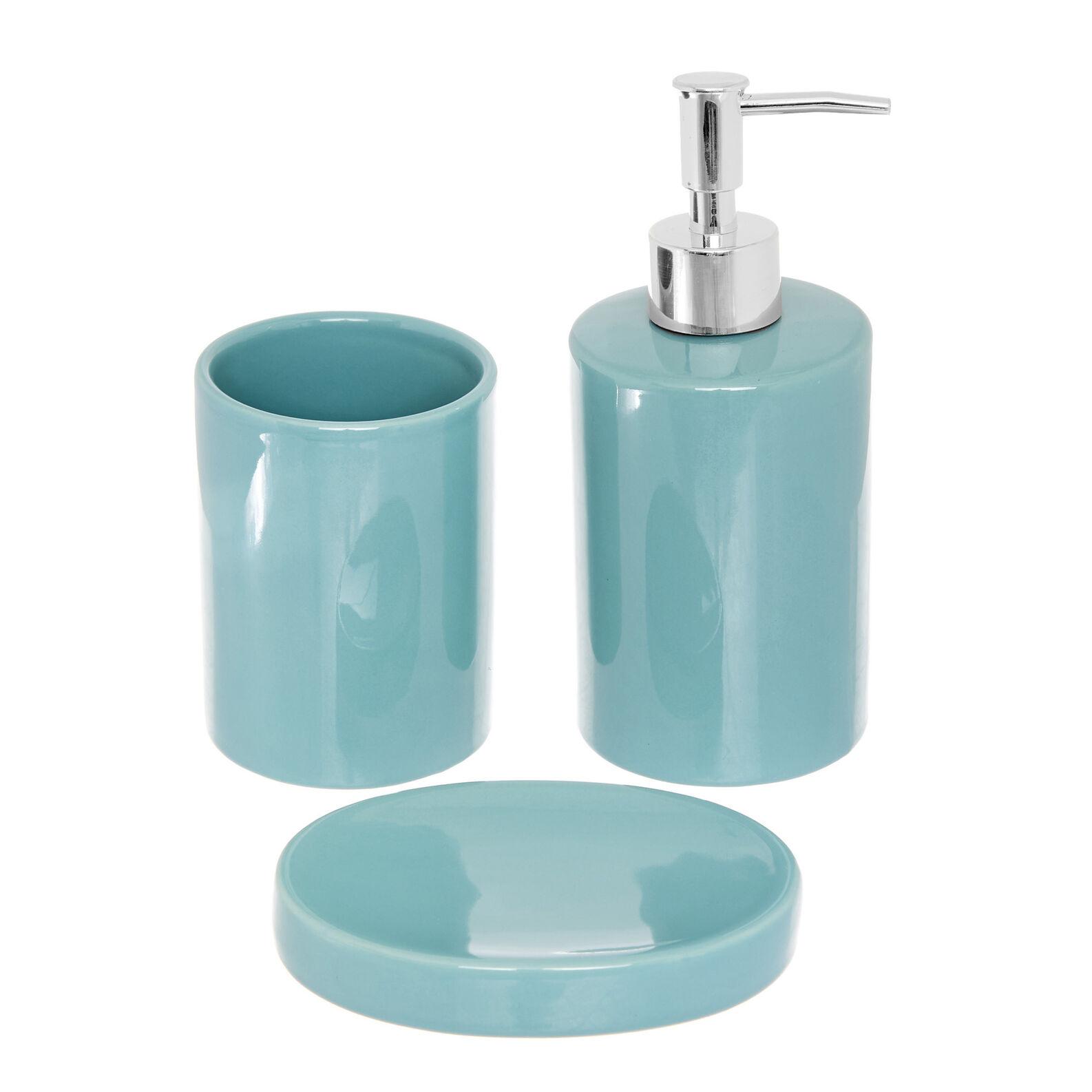 Set of 3 ceramic bathroom accessories