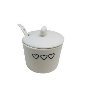 Porcelain sugar bowl with hearts