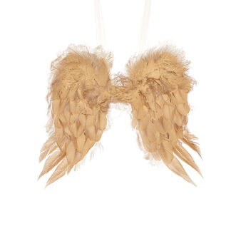 Decorative wings with golden feathers