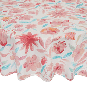 Round tablecloth in 100% cotton with floral print