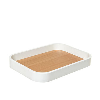 Loft decorative tray with walnut-effect surface