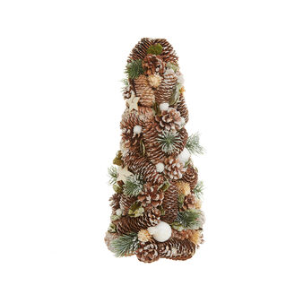 Decorative cone with balsa wood stars and pine cones