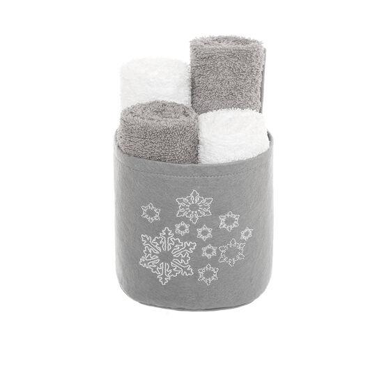 Cestino 4 lavette ricamo fiocchi di neve