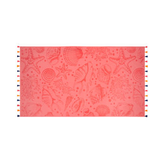 Velour cotton beach towel with marine motif