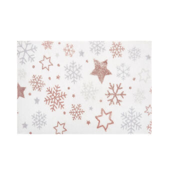 Cotton bath mat with snowflakes print