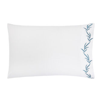 Cotton percale pillowcase with leaf embroidery