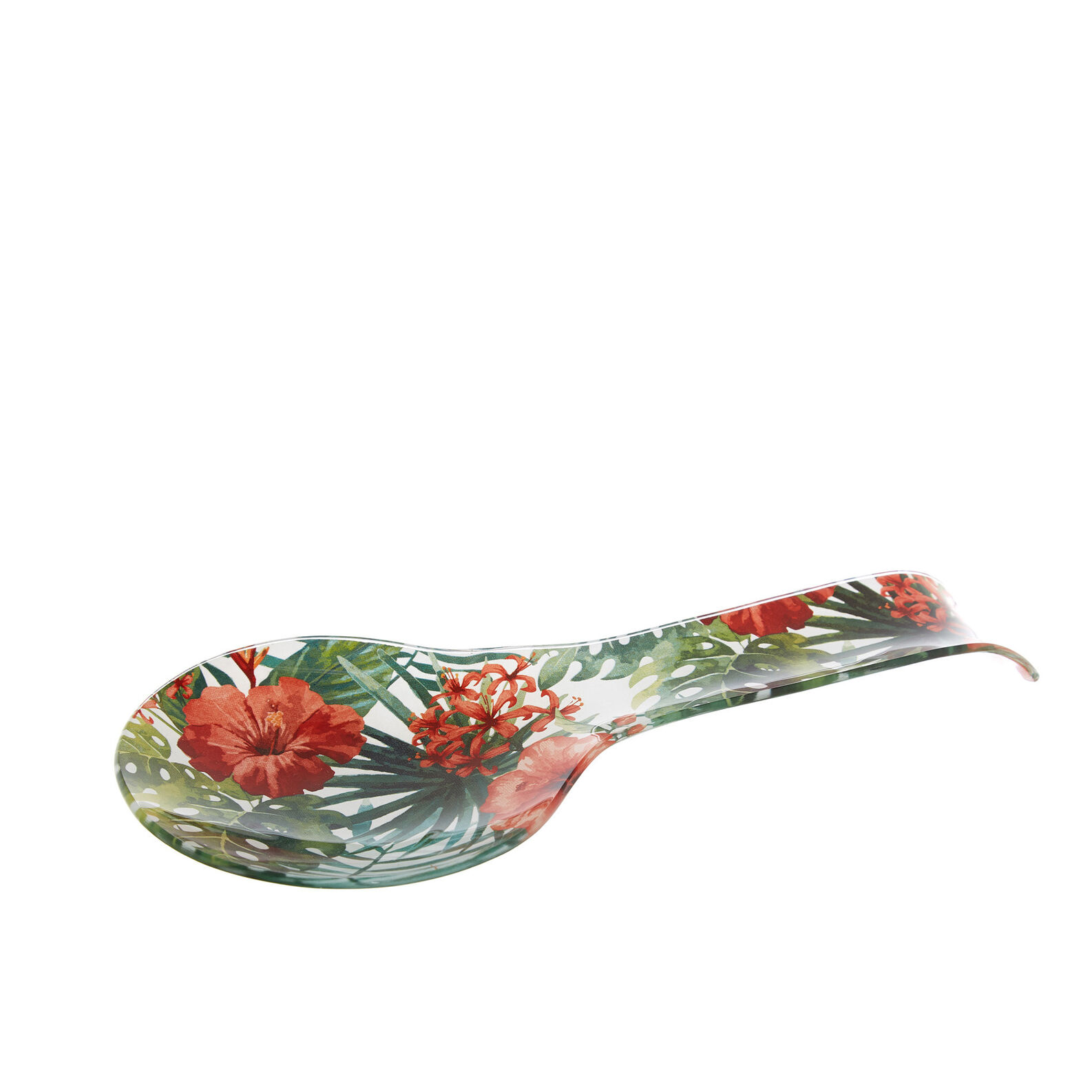 Glass spoon stand with floral motif