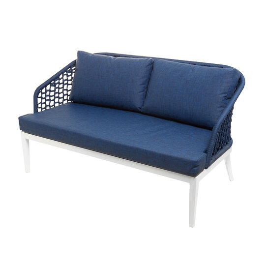 Mediterranean 2-seater sofa in polyester and aluminium